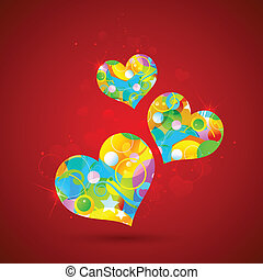 Colorful Heart - illustration of colorful heart on abstract...