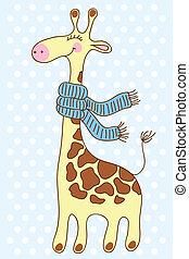 Cute happy Giraffe with a scarf.