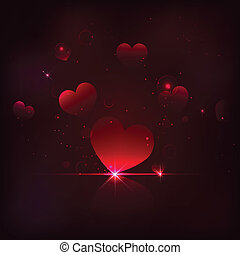 Shiny Heart - illustration of shiny heart on love background