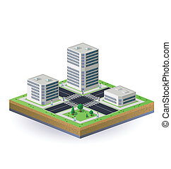 Isometric image of the city - Isometric image of a fragment...