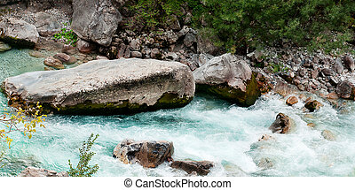 Valbona river in Albania - Wild scape, melted snow water...