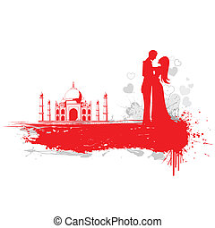Couple in Taj Mahal - illustration of loving couple in Taj...