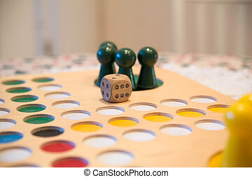 Buttons on table game field with die - Green buttons on...