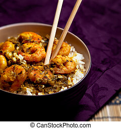 Curry Prawns with Rice - square - Appetising international...