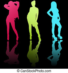 Silhouette of three beautiful girls