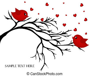 Loving pair of birds on a branch Valentines day