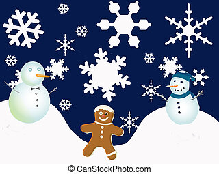 Winter Holiday Scene - Snowflakes and snowmen with...