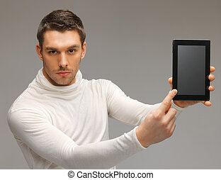 man with tablet pc - bright picture of futuristic man with...
