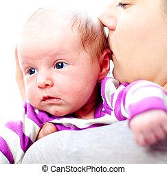 neonato, Baciare, madre, lei, bambino