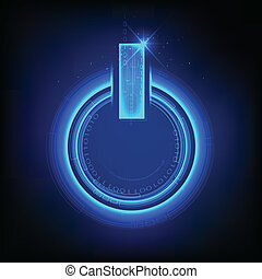 Power Button on Binary Background - illustration of power...