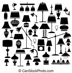 lamps - A set of silhouettes of household lamps and floor...