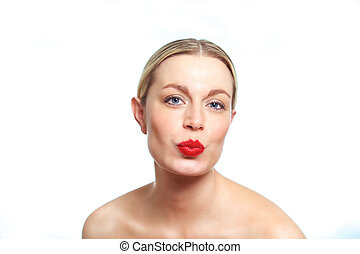 Blonde female woman pouting - A young female blonde model...