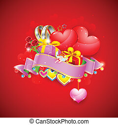 Love Background with Heart and Gifts