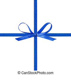 cross thin blue ribbon with bow, isolated on white