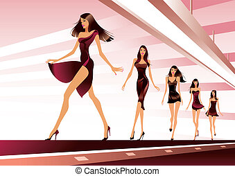 Fashion models on runway - vector illustration