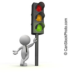 Semaphore - 3d people - man, people with a traffic light....