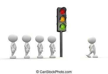 Semaphore - 3d people - man, people with a traffic light...