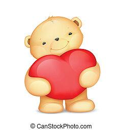 Teddy Bear with Heart - illustration of cute teddy bear...