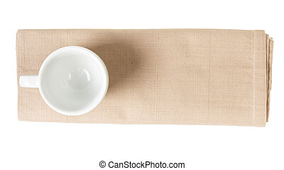 empry coffee cup on napkin from above, isolated