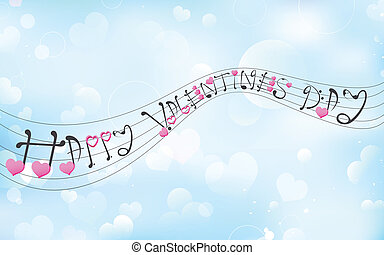 Love Music - illustration of Happy Valentine's tune on love...