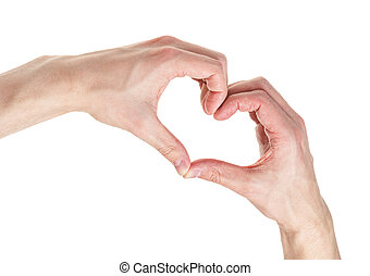 adult male hands shows heart shape, isolated on white