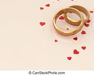 Golden wedding rings on beige background with red hearts...