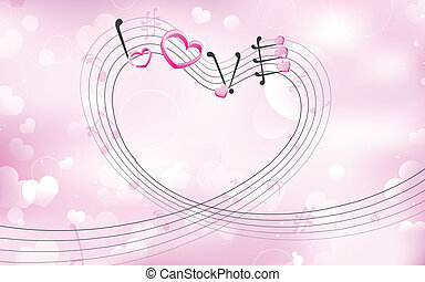 Love Music - illustration of love tune on Valentine's...