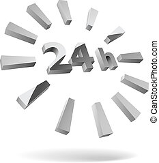 24 hours steel 3D icon isolated on white