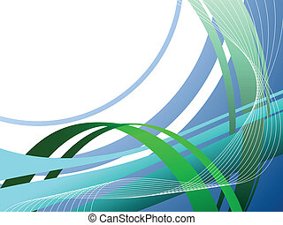 Blue and green wavy stripes business background.