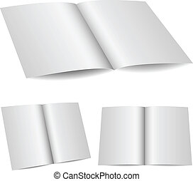 Blank opened folder in 3 variants isolated on white...