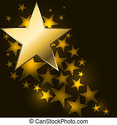 Abstract starry background with golden star shaped label.