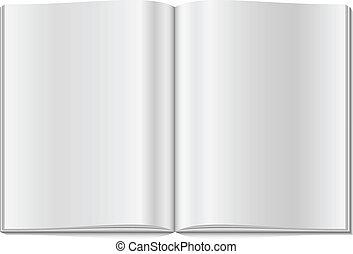 Blank opened magazine isolated on white background.