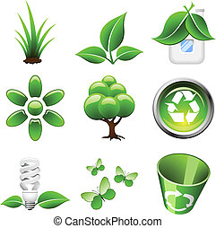 Environmental green icons isolated on white background.