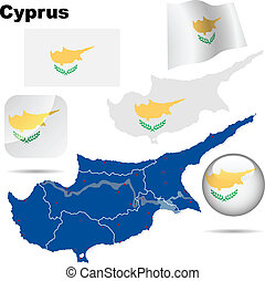 Cyprus vector set. Detailed country shape with region...
