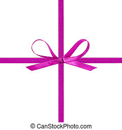 cross thin purple ribbon with bow, isolated on white