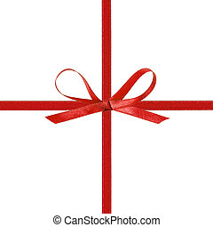 cross thin red ribbon with bow, isolated on white