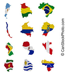 South America countries flag maps on a white background