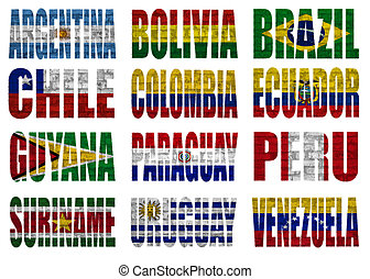 South America countries flag words on a white background