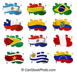 South America countries flag blots on a white background