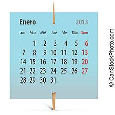 Calendar for January 2013 in Spanish - Calendar for January...