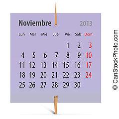 Calendário, novembro,  2013
