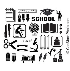Icon - Image objects that are relevant to school