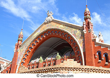 Valencia, Spain. Mercado Colon - famous old market hall,...