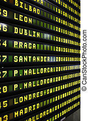 Departure board - Departure schedule at an airport in Spain...