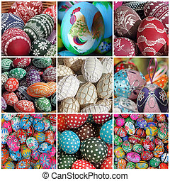 easter eggs collage - polish easter traditions , Krakow,...