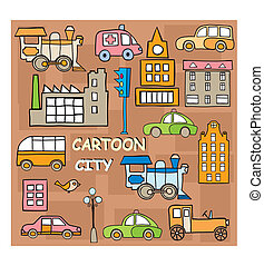 City in style cartoon