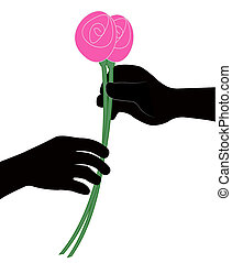 hand giving flower vector