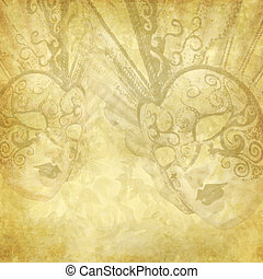 Vintage golden background with Venetian masks - Golden...