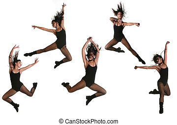 Ethnic Dancer With Many Poses - Multiple Jump Poses of a...