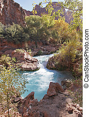 Turquoise Pond at Havasu Falls in Havasupai Indian...